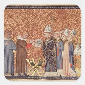 Ms Cotton Tib B VIII f.47 Coronation Scene Square Sticker