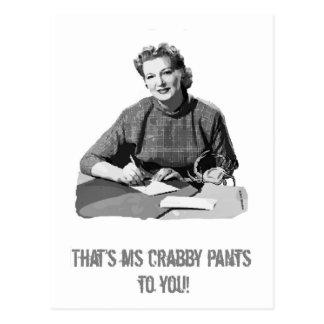 Ms. Crabby Pants Postcard