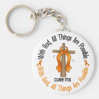Ms de la esclerosis múltiple CON la CRUZ 1 de DIOS Llavero Personalizado