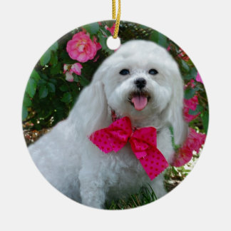 Ms Dolly MaltiPoo Double-Sided Ceramic Round Christmas Ornament