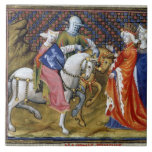 Ms Fr. 120 The Lady of the Lake Meeting Guinevere, Large Square Tile