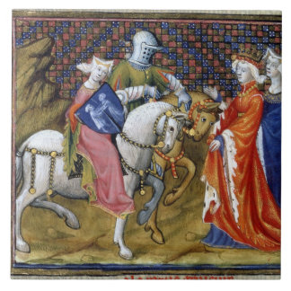Ms Fr. 120 The Lady of the Lake Meeting Guinevere, Tile