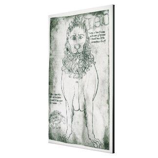 Ms Fr 19093 fol.24v Lion and Porcupine Canvas Print