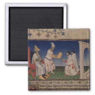 Ms Fr 2810 f.3v Kublai Khan (1214-94) giving his g 2 Inch Square Magnet