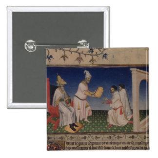 Ms Fr 2810 f.3v Kublai Khan (1214-94) giving his g Button