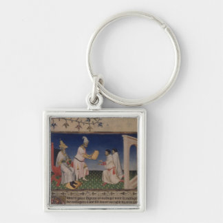 Ms Fr 2810 f.3v Kublai Khan (1214-94) giving his g Keychain