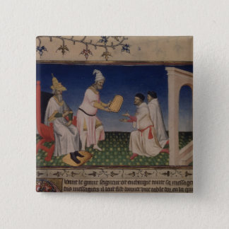 Ms Fr 2810 f.3v Kublai Khan (1214-94) giving his g Pinback Button