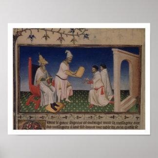 Ms Fr 2810 f.3v Kublai Khan (1214-94) giving his g Poster