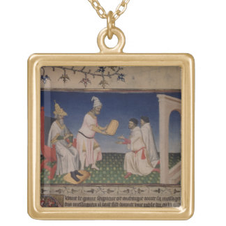 Ms Fr 2810 f.3v Kublai Khan (1214-94) giving his g Square Pendant Necklace