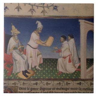 Ms Fr 2810 f.3v Kublai Khan (1214-94) giving his g Tile