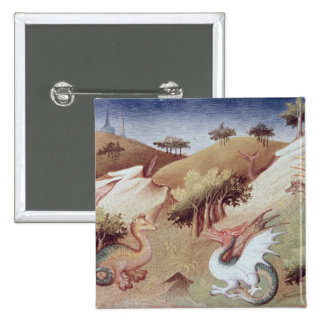 Ms Fr 2810 f.55v Dragons and other beasts 2 Inch Square Button