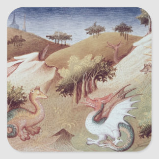 Ms Fr 2810 f.55v Dragons and other beasts Square Sticker