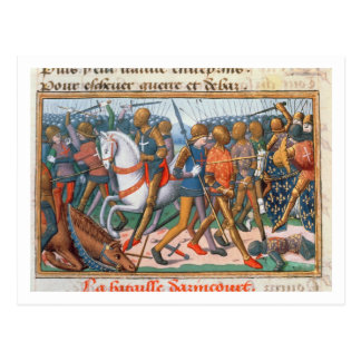 Ms Fr 5054 f.11 The Battle of Agincourt, 1415, fro Postcard
