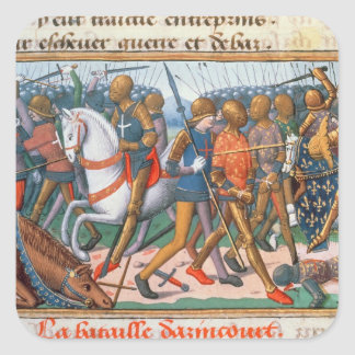 Ms Fr 5054 f.11 The Battle of Agincourt, 1415, fro Square Sticker