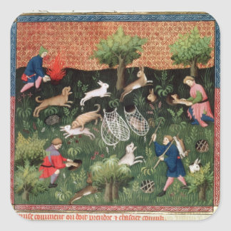 Ms Fr 616 fol.92 Hunting hares, from the Livre de Square Sticker