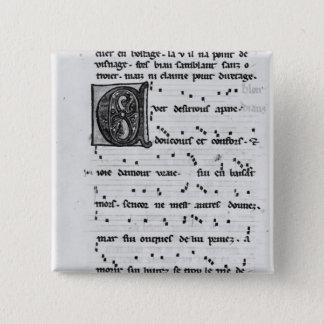 Ms.Fr 844 fol.138v Song by Blondel de Nesles Pinback Button