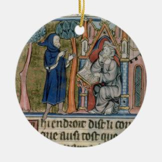 Ms Fr. 95 f.268 Merlin dictates the story to Blais Ceramic Ornament