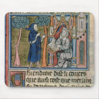 Ms Fr. 95 f.268 Merlin dictates the story to Blais Mouse Pad