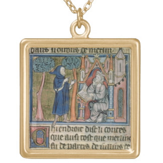 Ms Fr. 95 f.268 Merlin dictates the story to Blais Square Pendant Necklace