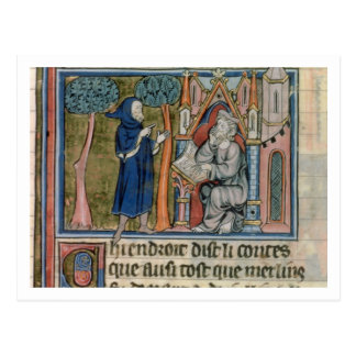 Ms Fr. 95 f.268 Merlin dictates the story to Blais Postcard