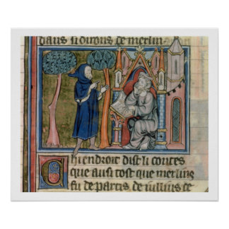 Ms Fr. 95 f.268 Merlin dictates the story to Blais Poster
