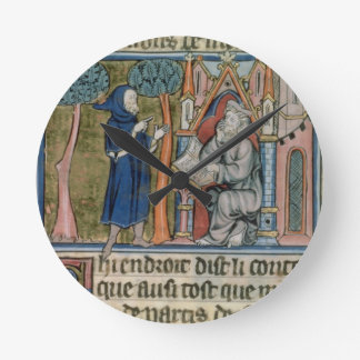 Ms Fr. 95 f.268 Merlin dictates the story to Blais Round Clock