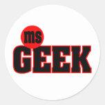 Ms Geek Sticker Pegatina Redonda