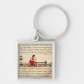 Ms. Grec 479 Traditional ivory work Silver-Colored Square Keychain