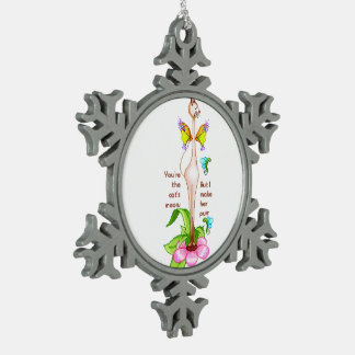 Ms. Kitty Siamese Cat Snowflake Pewter Christmas Ornament