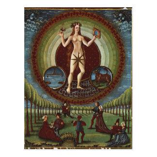 Ms Lat 209 f 9v Venus from De Sphaera c 1470 Post Card