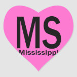 MS Mississippi plain black Heart Stickers