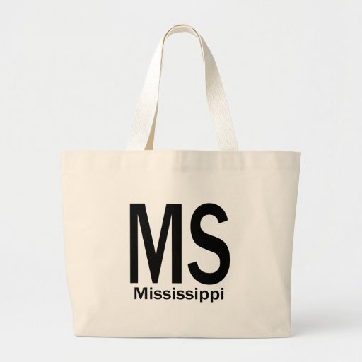 MS Mississippi plain black Tote Bags
