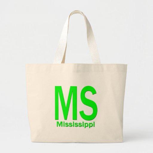 MS Mississippi plain green Canvas Bag