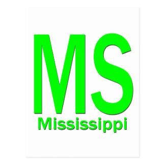 MS Mississippi plain green Postcard