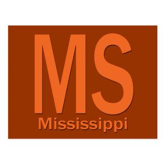 MS Mississippi plain orange Postcard