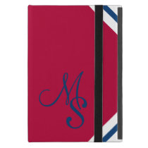 MS Monogrammed Red and Blue iPad Mini Case