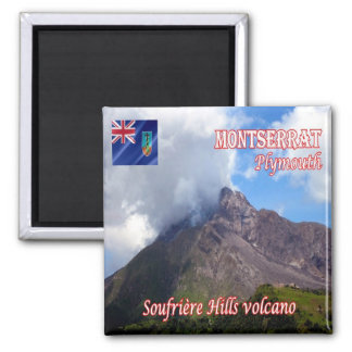 MS - Montserrat - Plymouth-Soufriere Hills Volcano 2 Inch Square Magnet