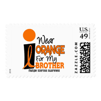 MS Multiple Sclerosis I Wear Orange For My Brother Stamps