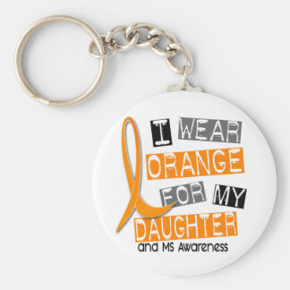 MS Multiple Sclerosis I Wear Orange For My Daughte Basic Round Button Keychain