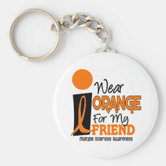 MS Multiple Sclerosis I Wear Orange For My Friend Basic Round Button Keychain