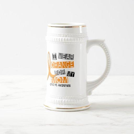 MS Multiple Sclerosis I Wear Orange For My Mom 37 18 Oz Beer Stein