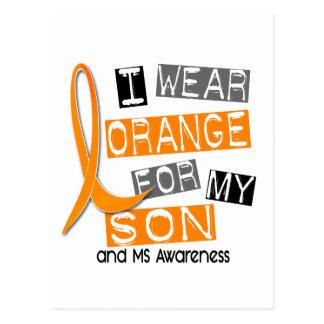 MS Multiple Sclerosis I Wear Orange For My Son 37 Postcard