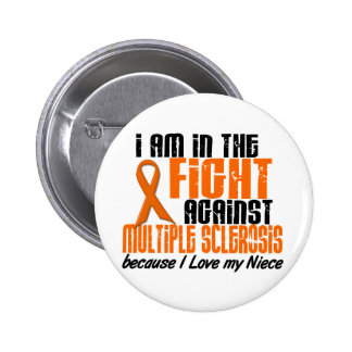 MS Multiple Sclerosis IN THE FIGHT FOR MY NIECE 1 2 Inch Round Button