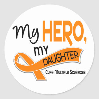MS Multiple Sclerosis MY HERO MY DAUGHTER 42 Classic Round Sticker