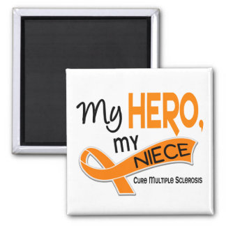 MS Multiple Sclerosis MY HERO MY NIECE 42 2 Inch Square Magnet