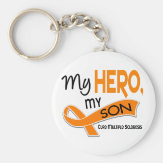 MS Multiple Sclerosis MY HERO MY SON 42 Basic Round Button Keychain
