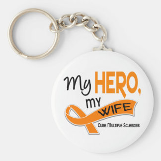 MS Multiple Sclerosis MY HERO MY WIFE 42 Basic Round Button Keychain