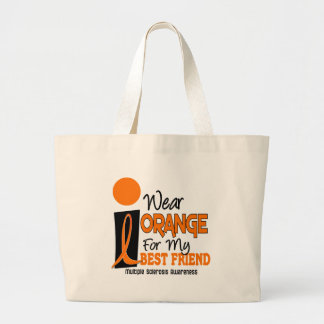 MS Multiple Sclerosis Orange For My Best Friend 9 Large Tote Bag