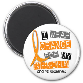 MS Multiple Sclerosis Orange For My Father-In-Law 2 Inch Round Magnet