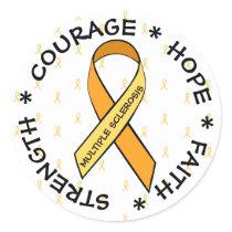 MS Multiple Sclerosis ORANGE Ribbon Sticker